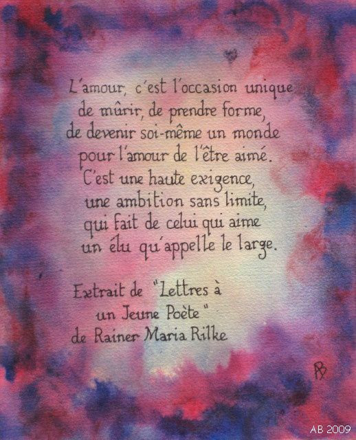 Lamour Rainer Maria Rilke Les Plaisirs De Laquarelle