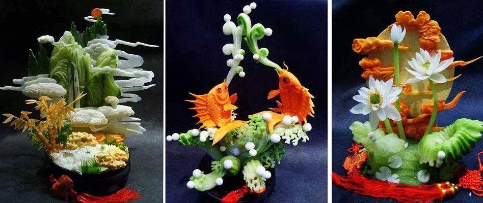 sculptures asiatiques sur aliments