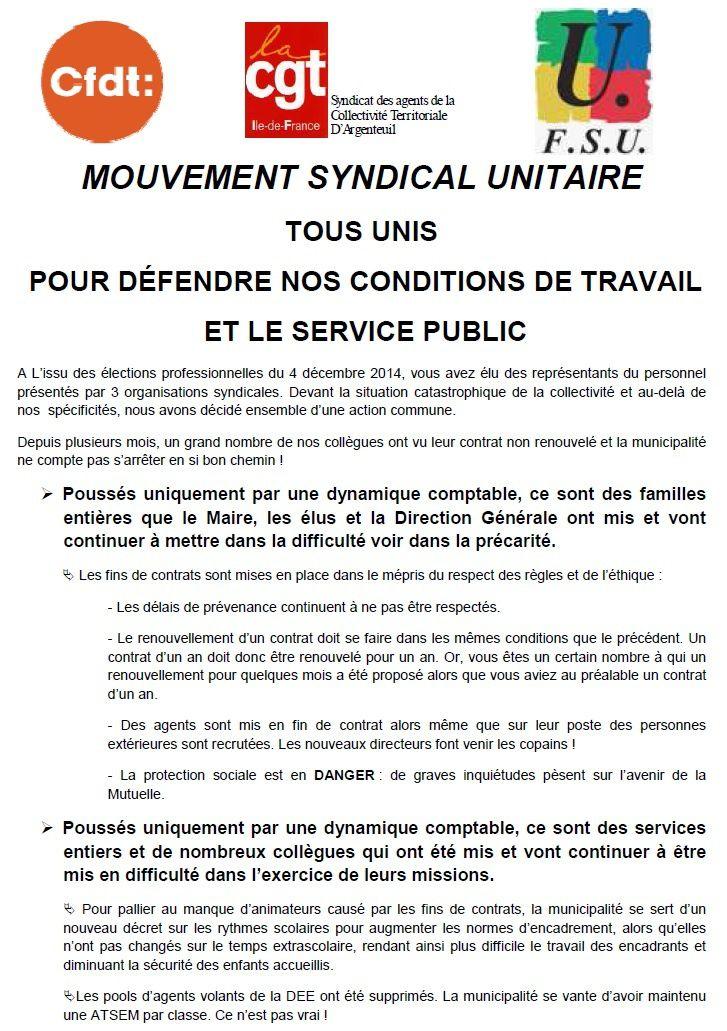Mairie d'Argenteuil : Unis pour la défense des conditions de travail et du Service Public