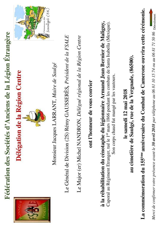Invitation du 12 mai 2018 à SAULGE pour la cérémonie de commémoration du 155e anniveraire du combat de Camerone et la réhabilitation du cénotaphe du légionnaire Armand Jean Bernier de Maligny