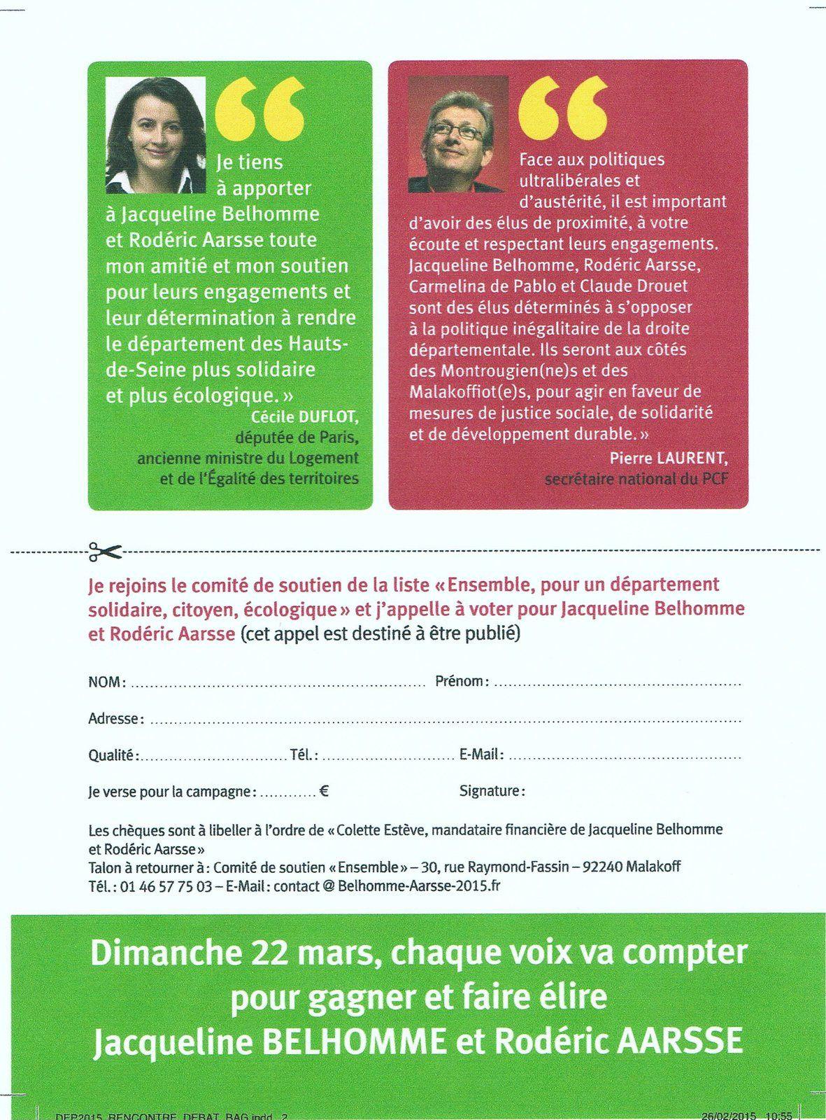 Départementales: citoyens, solidaires, écologiques