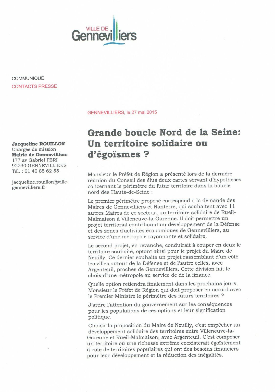 Grand Paris: les territoires doivent avoir les moyens de la solidarité