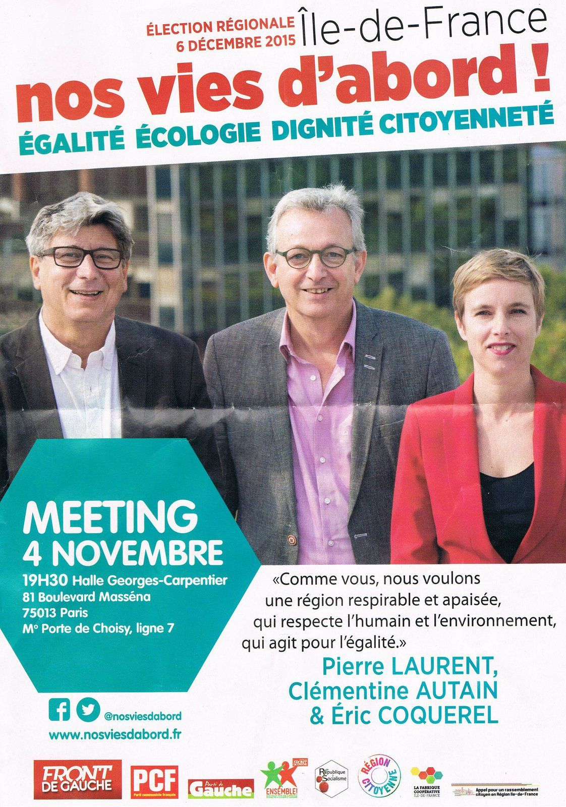 nos vies d'abord: meeting régional le 4 novembre