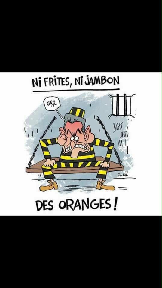 Oranges, frites et jambon