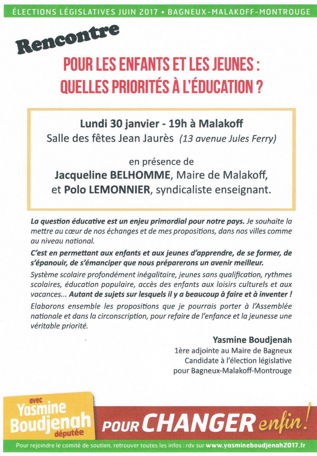 Malakoff: avec Yasmine Boudjenah, pour l'Education