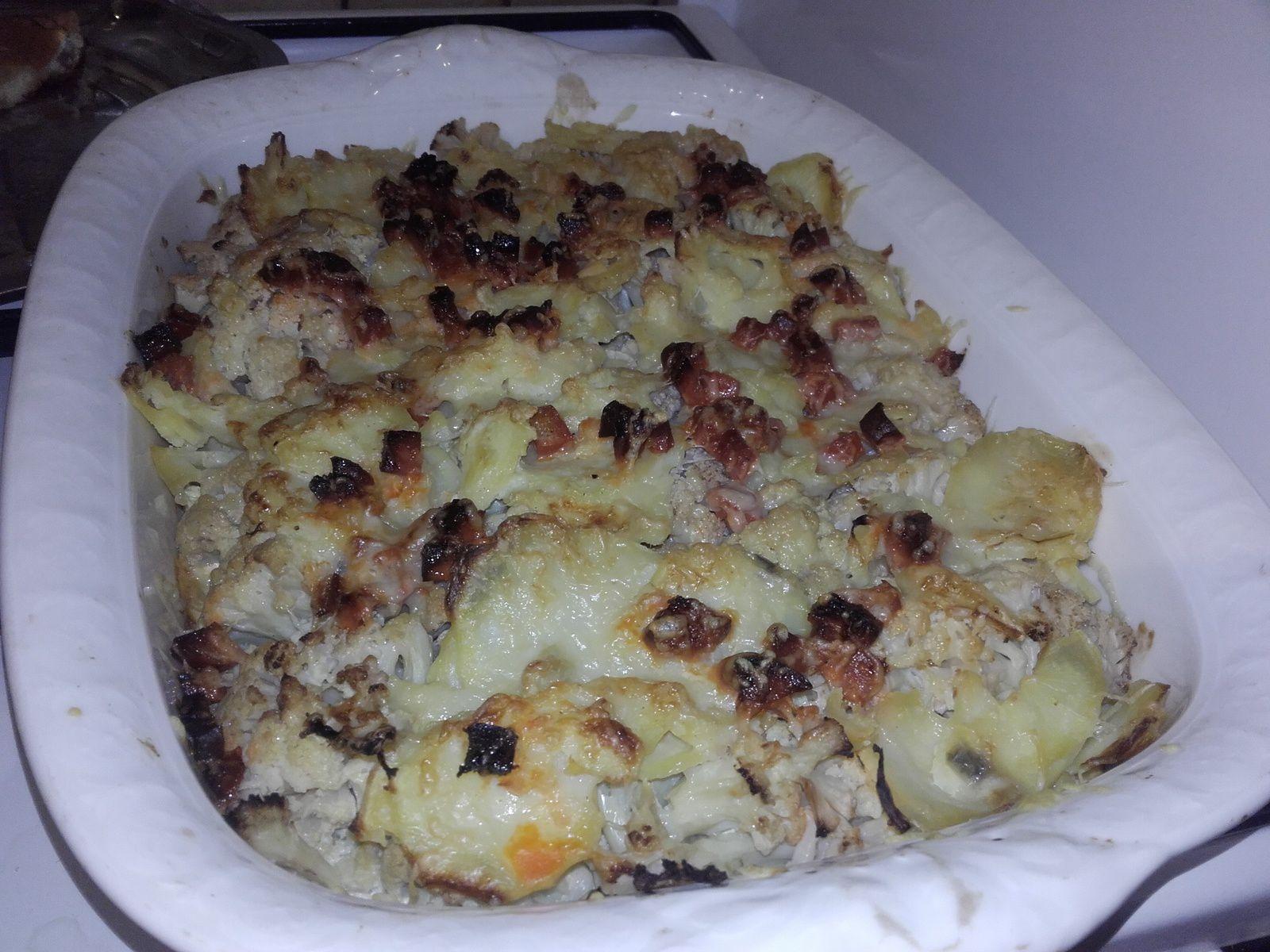 Gratin pommes de terre chou fleur et chorizo