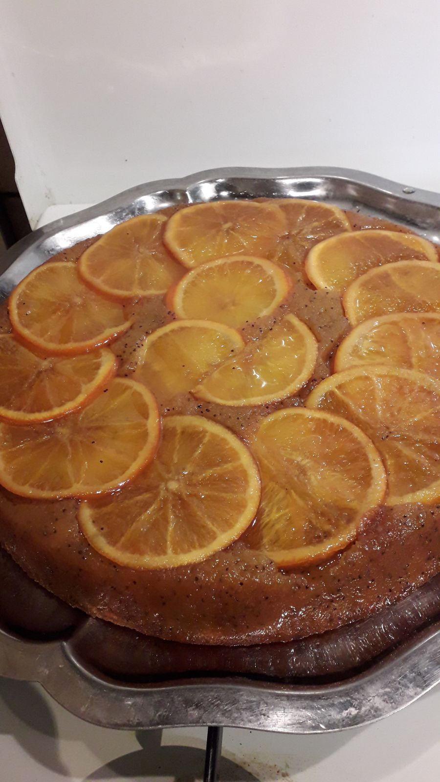 Gâteau renversé à l'orange miel et pavot