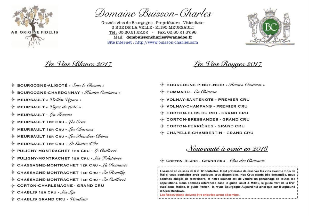 Chers allocataires les vins du millésime 2017 sont à la réservation jusqu'au 31/03/2019