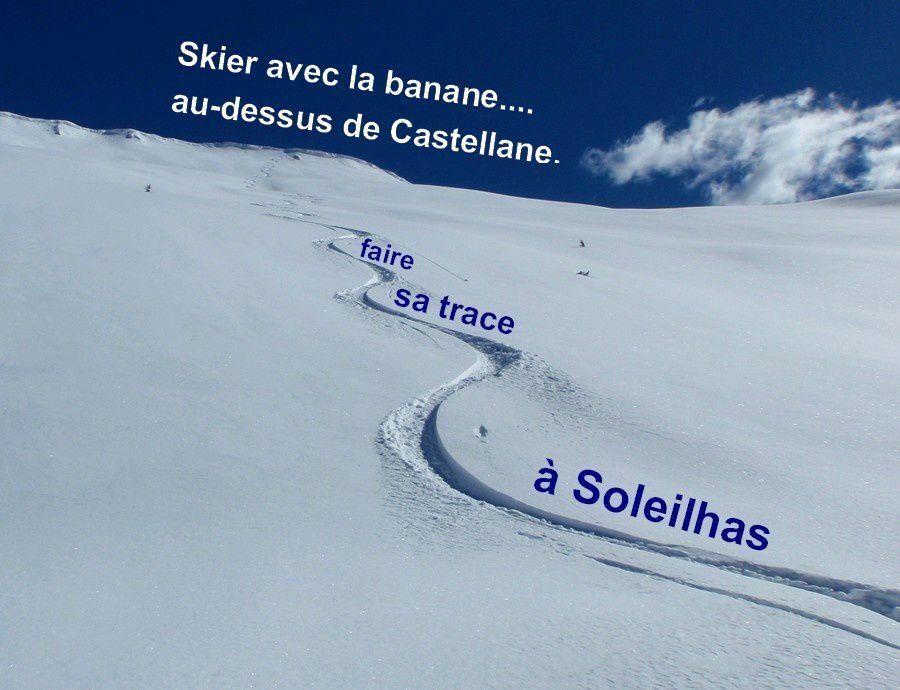 Skier avec la banane à Castelanne - Faire sa trace à Soleilhas