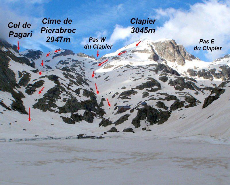 En arrivant au lac de la Foux, vu sur l'itinéraire du Clapier et sur notre course du lendemain au Peirabroc.