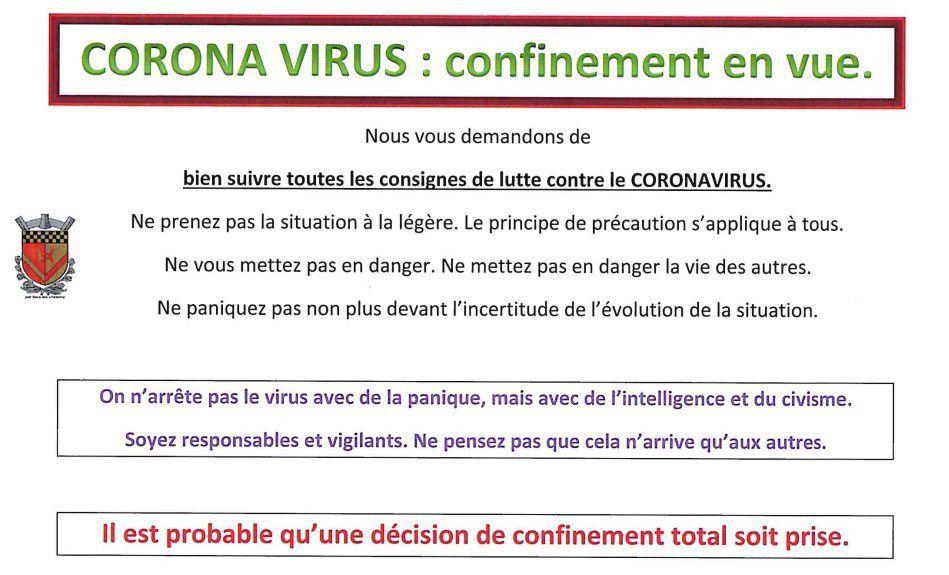 CORONAVIRUS : confinement en vue