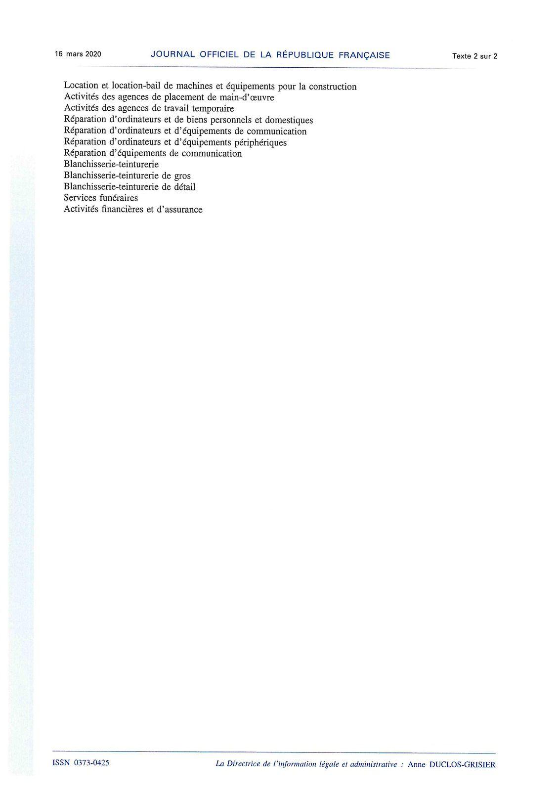 CORONAVIRUS : décret du 15 mars 2020