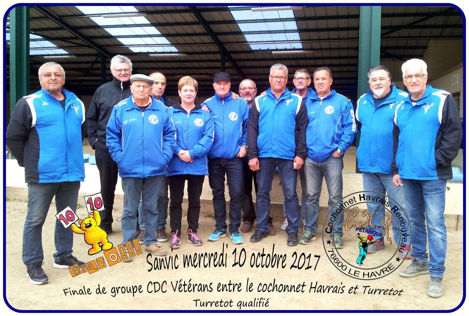 Mercredi 10 octobre finale de groupe CDC Vétérans