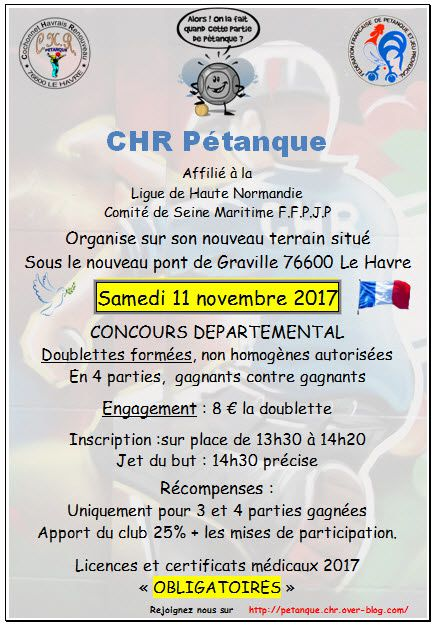 Concours départemental doublette samedi 11 novembre