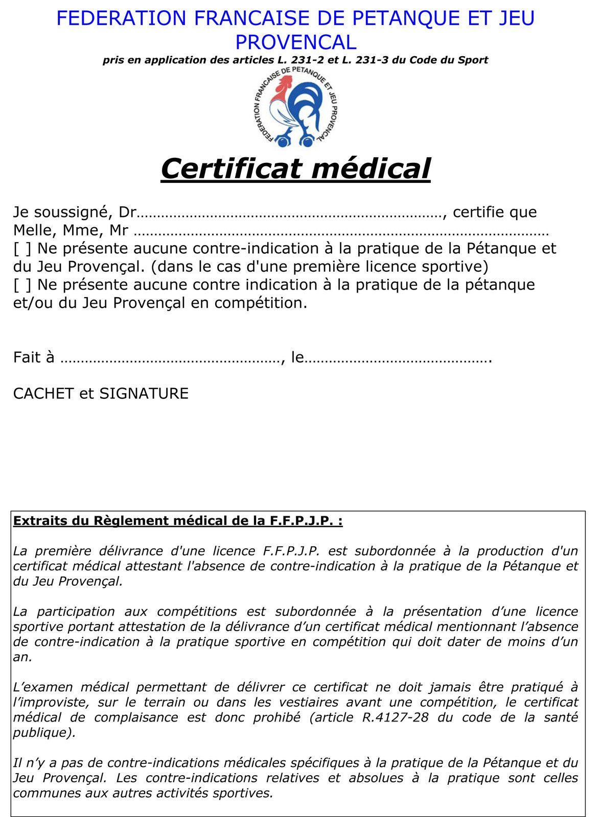 Certificat médical FFPJP