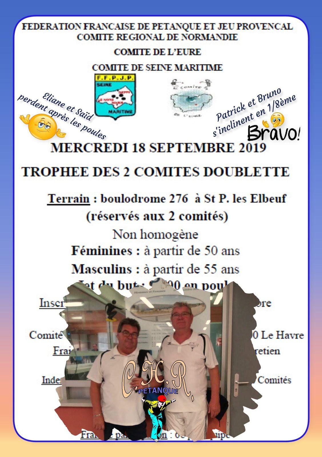 Trophée des 2 comités doublette vétérans à St Pierre