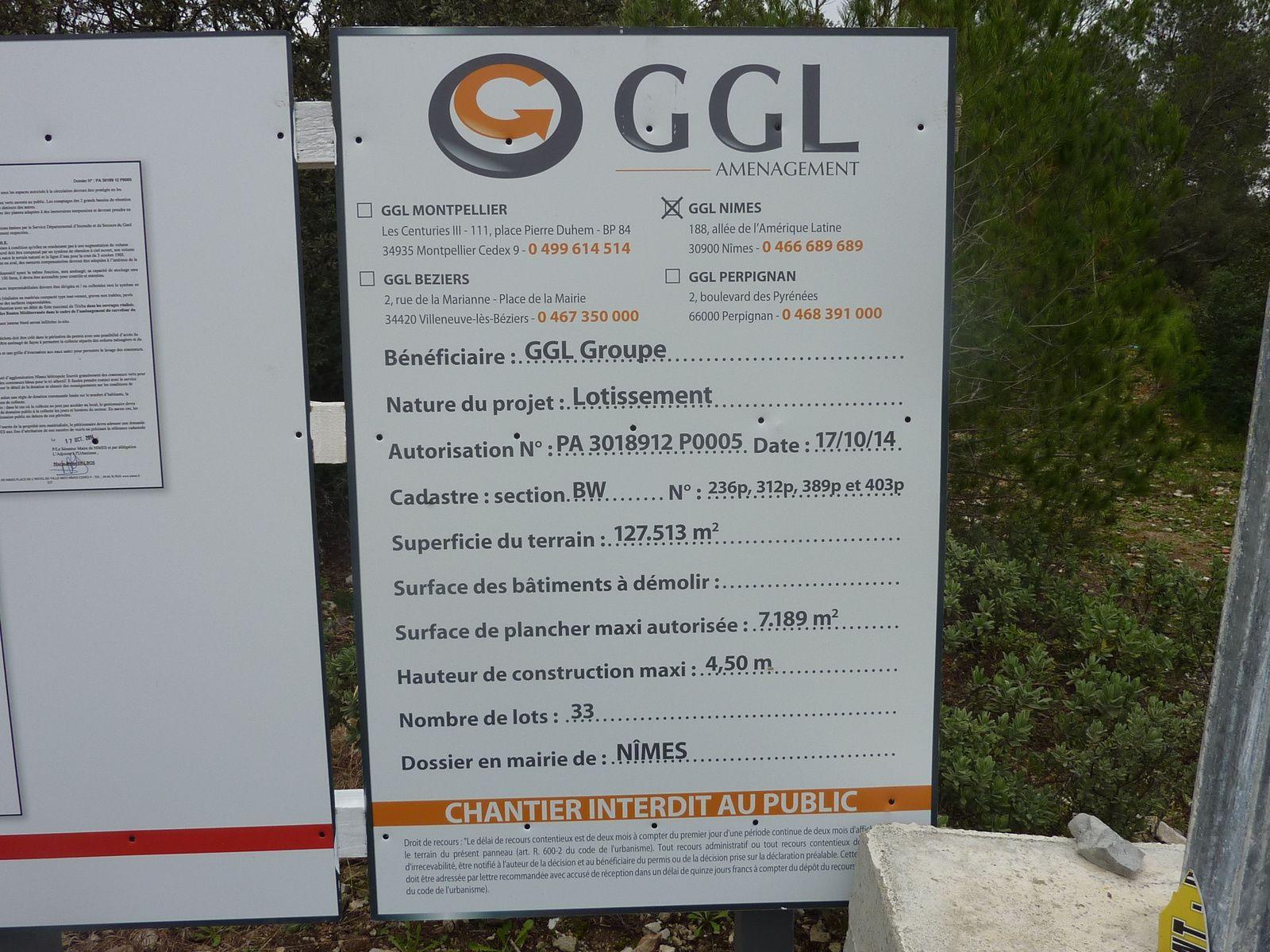 Affichage permis de construire Lotissement du Bois des Espeisses à Villeverte 30 Nimes