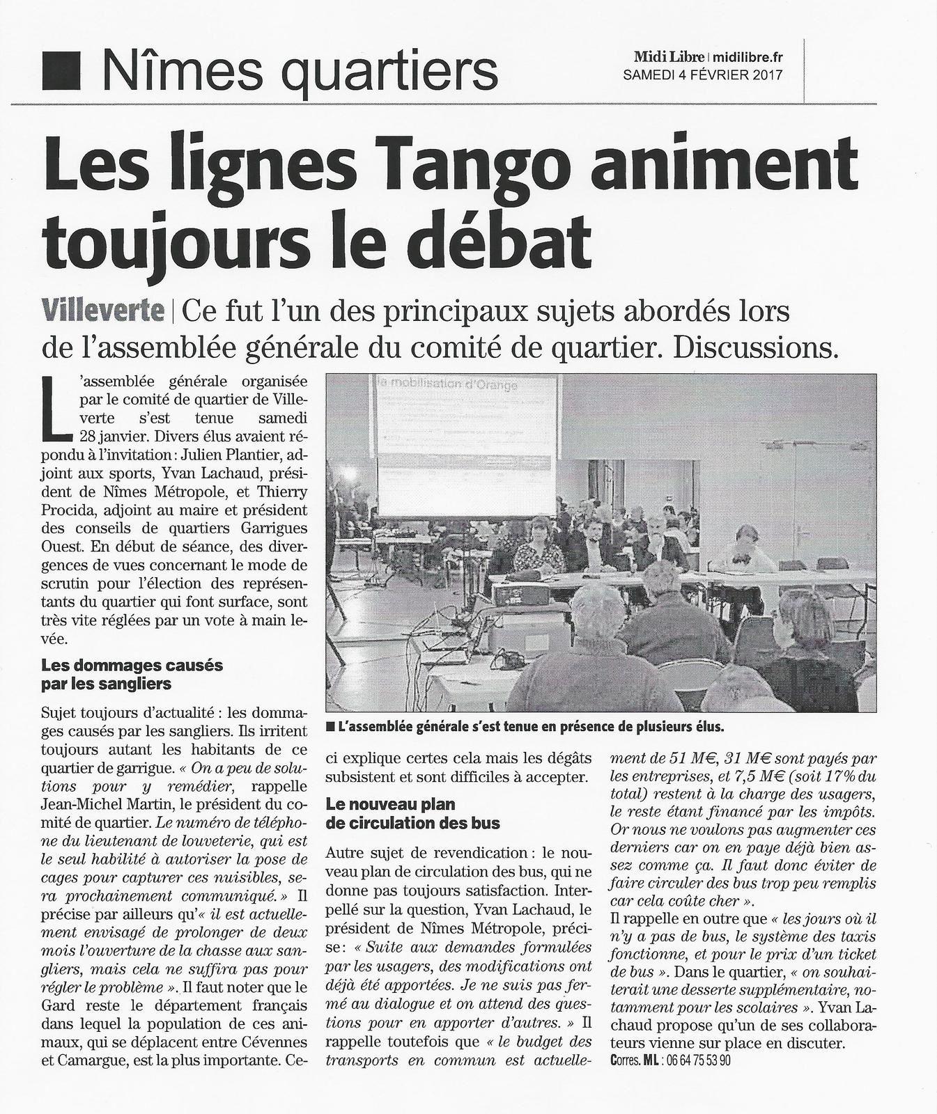 Article Midi Libre du 4 février 2017 AG Comité Quartier de Villeverte
