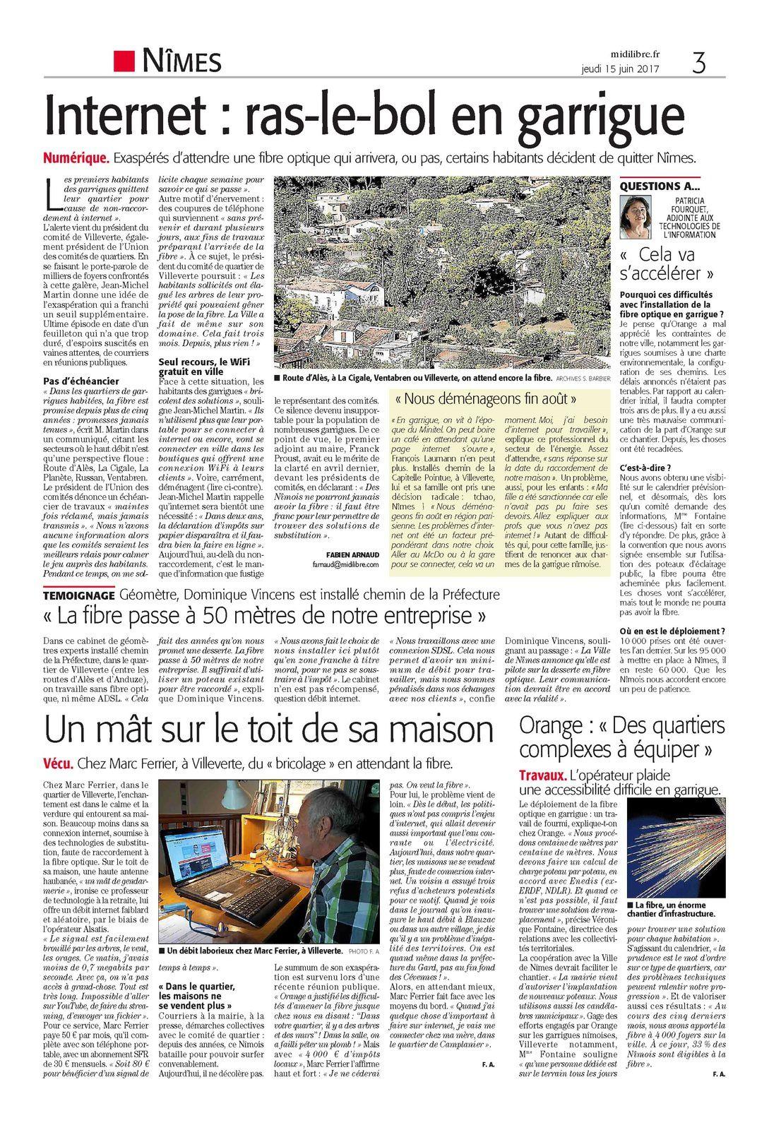 Article Midi Libre sur la Fibre Optique à Villeverte et à Nîmes