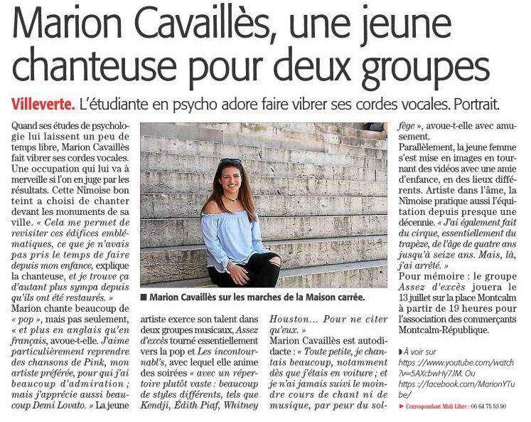 Marion Cavaillès Chanteuse à Nîmes article Midi libre