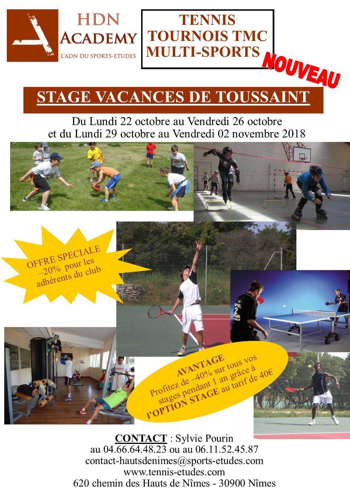 Stage tennis et mulit-sports pendant les Vacances de Toussaint avec  HDN ACADEMY aux Hauts de Nîmes avec l'équipe du Sports-Etudes