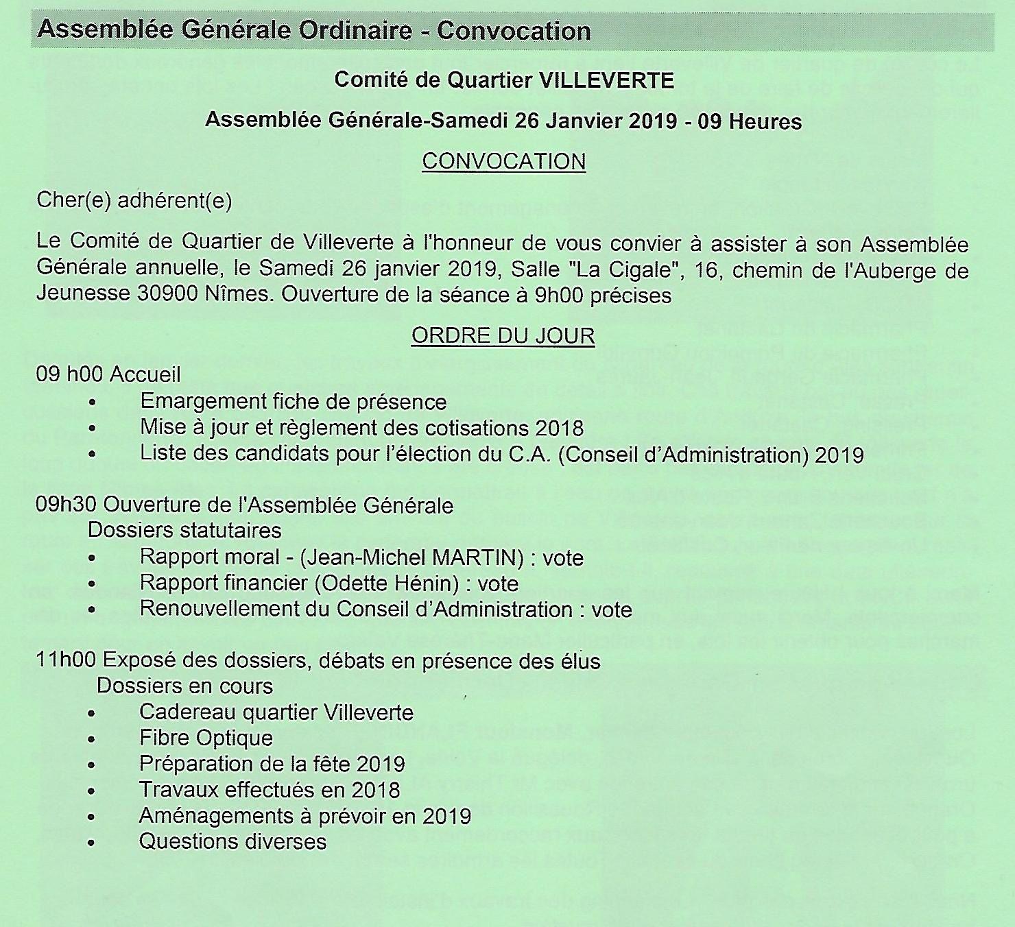Convocation Assemblée Générale du Comité de Quartier de Villeverte à Nîmes
