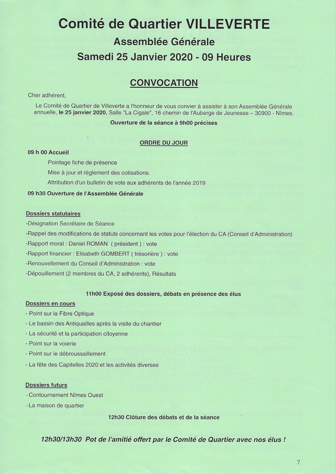 Comité de Quartier de Villeverte à Nîmes, assemblée générale 2020
