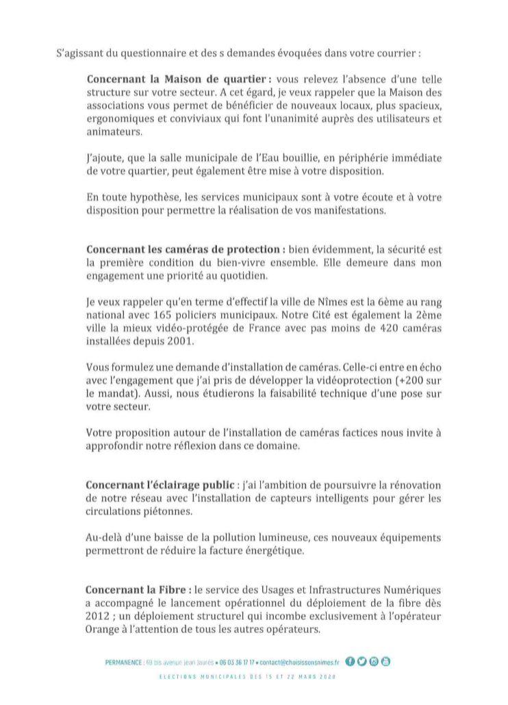 Comité de Quartier de Villeverte à Nîmes, réponses de Jean-Paul Fournier, municipales