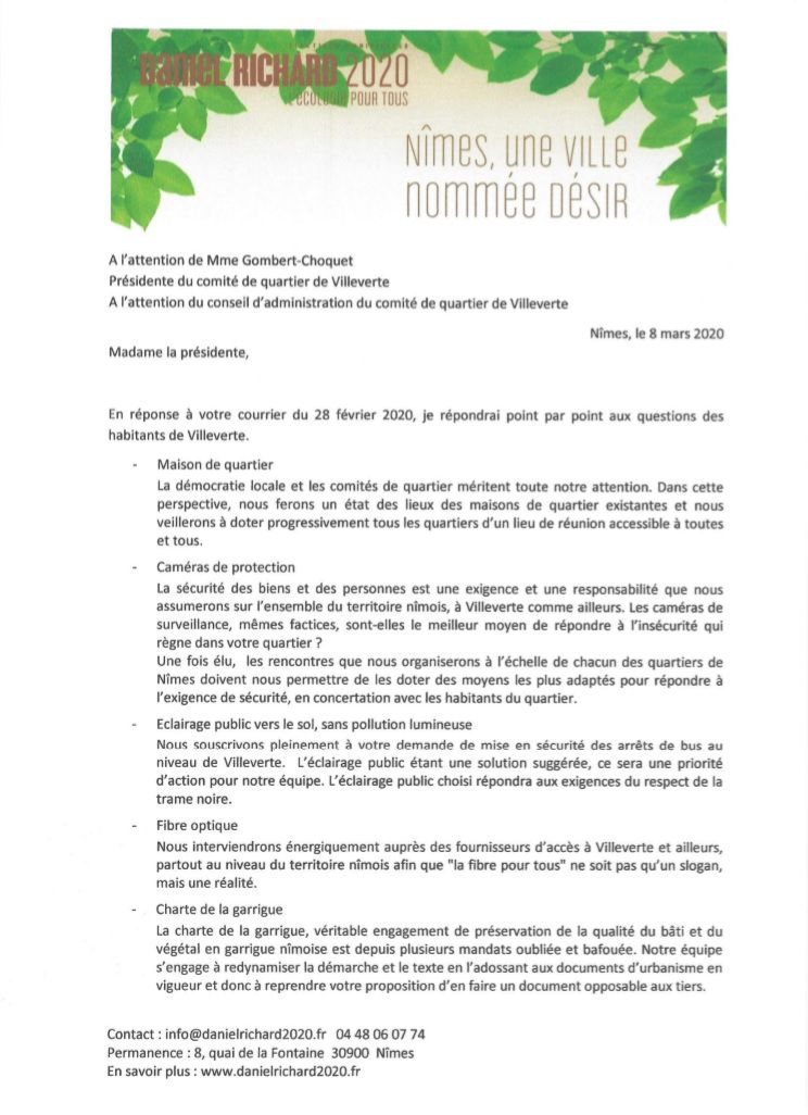 Comité de quartier de Villeverte à Nîmes, élection municipale 2020