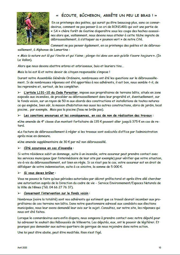 Villeverte, comité de quartier à Nîmes, Débroussaillement, débroussaillage, sanction, obligation