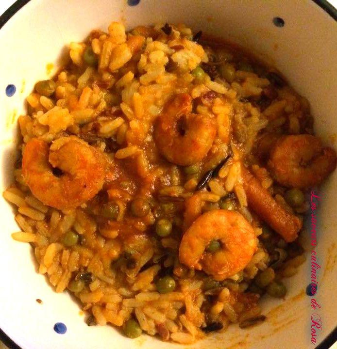 Riz indien au curry et aux crevettes
