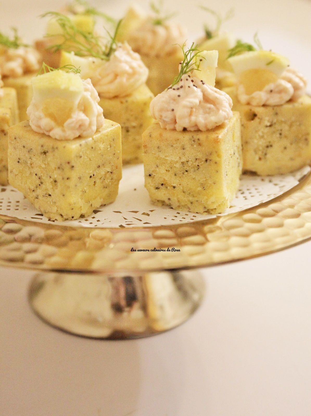 Minis cakes au citron/pavot à la mousse de saumon