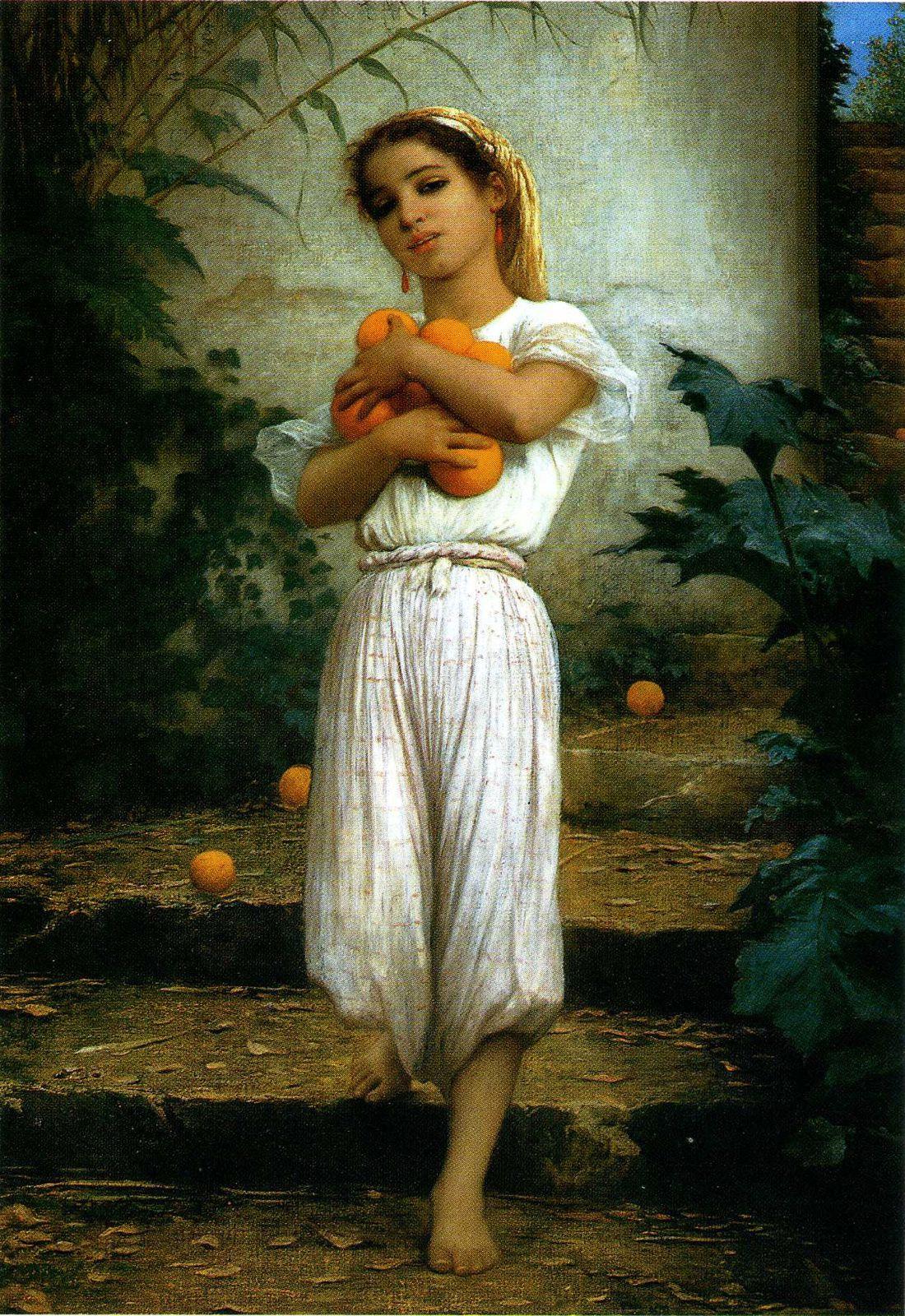 """Charles Landelle / Chennevières-sur-Marne 1908 """"Jeune fille aux oranges"""" Huile sur toile 111 x 76 cms"""