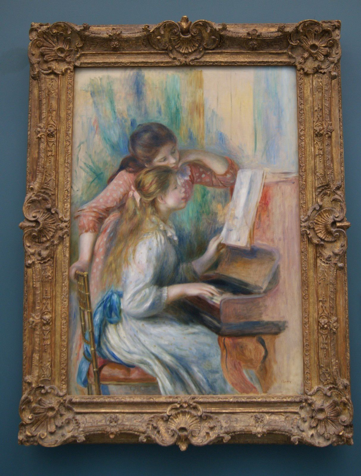 """"""" Jeunes filles au piano / Vers 1892 / Huile sur toile : 116 x 81 cms"""