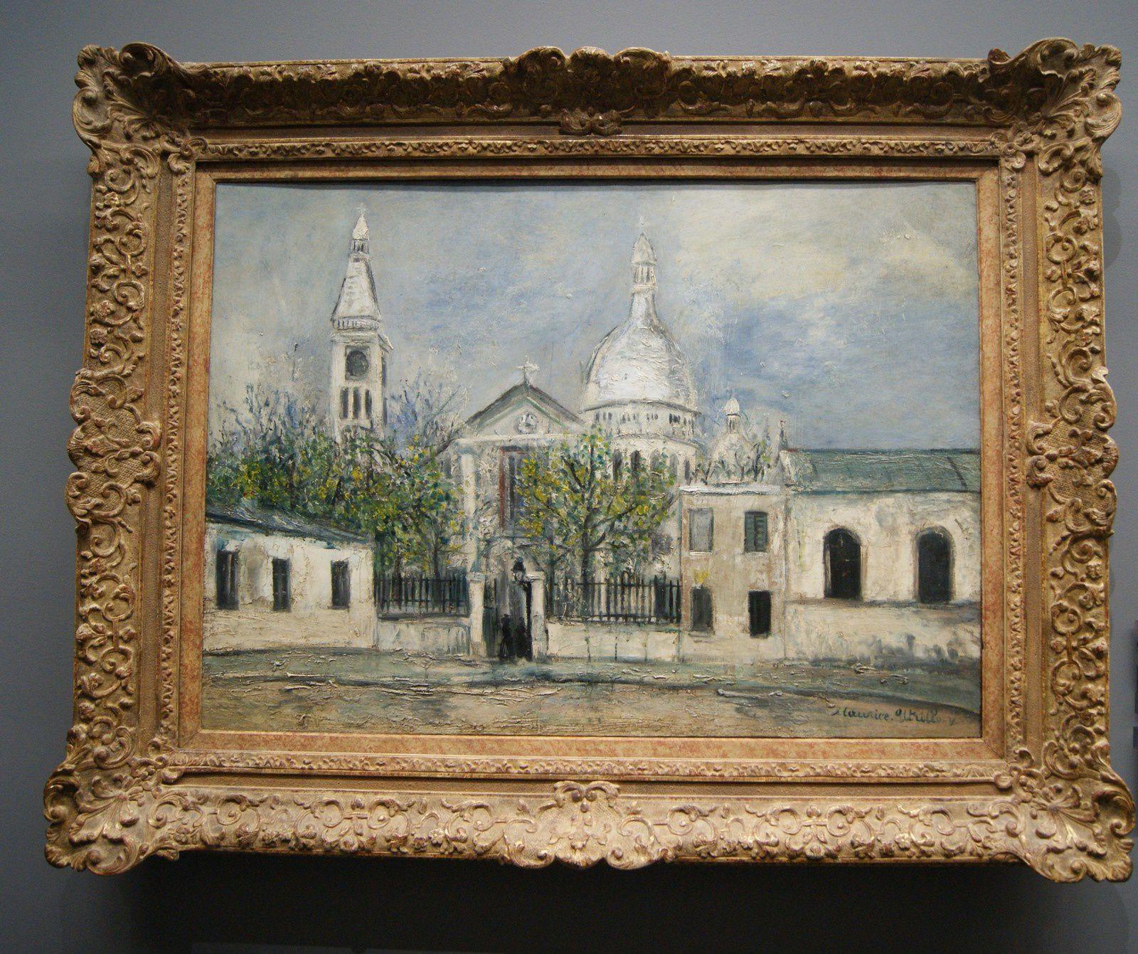 """""""Eglise Saint-Pierre de Montmartre"""" 1914 Huile sur carton parqueté : 76 x 105 / Signé en bas à droite en vert foncé"""