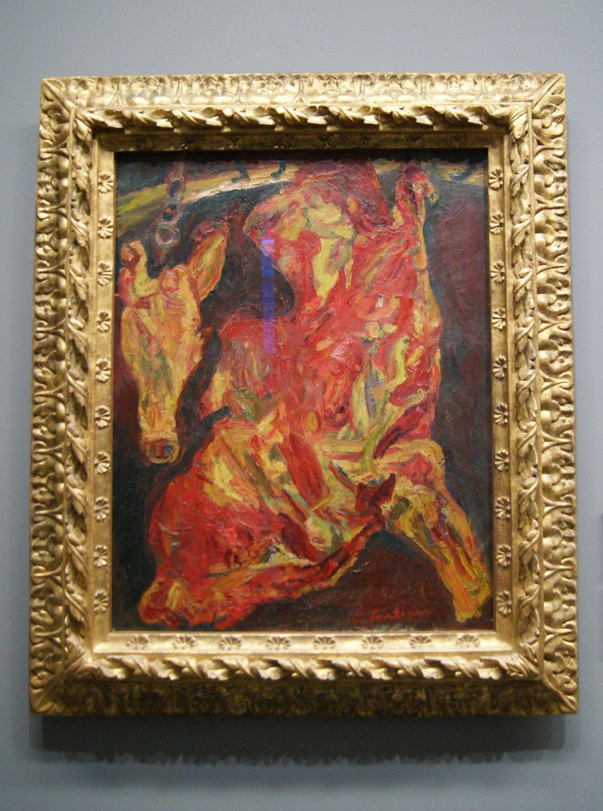 """""""Boeuf et tête de veau""""Vers 1925 /Huile sur toile: 92 X 73 cm / Signé en bas à droite en rouge Soutine"""