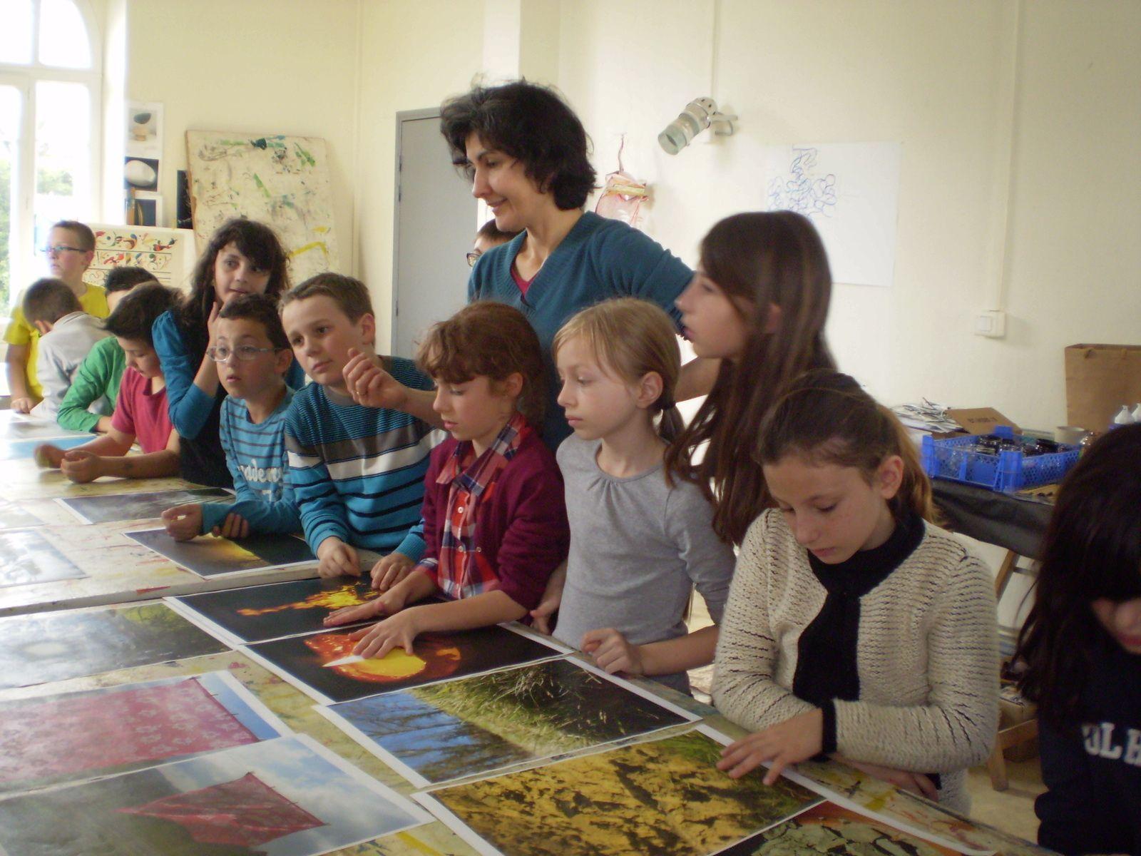 Les CM1A à l'école d'art.
