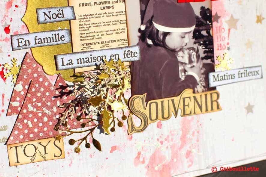 """Détails de la page """"La tête dans les étoiles""""_Défi sketch Scrap&Co"""