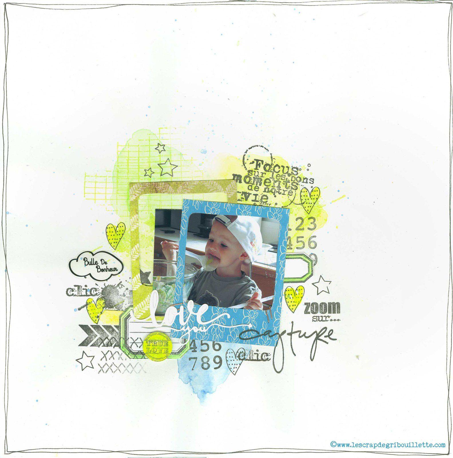 Page de scrap_Bulle de Bonheur_Sketch à la chaîne sur Made In Scrap