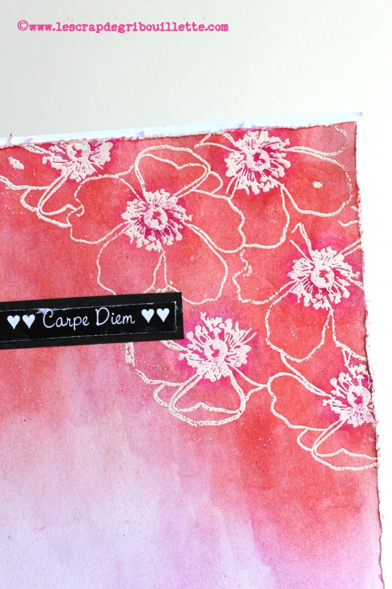 """Carte """"fleurs embossées"""""""