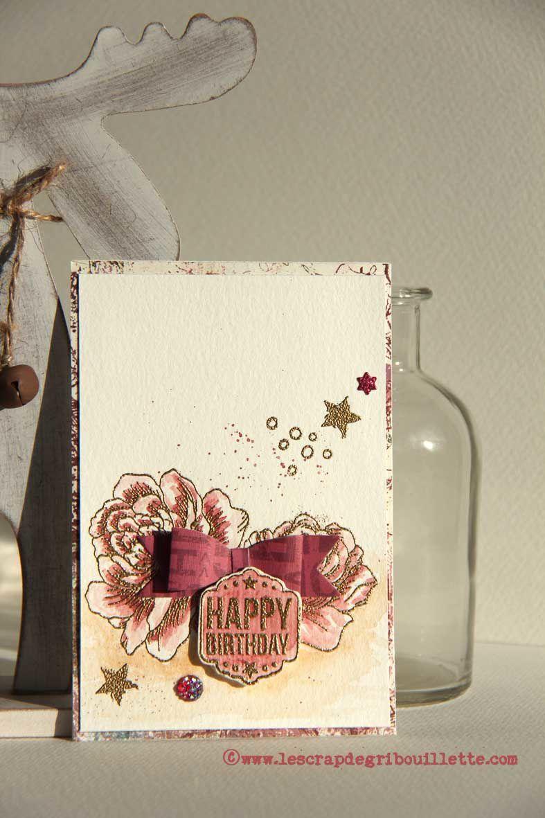 """Carte d'anniversaire """"Entre Rose et Or"""""""