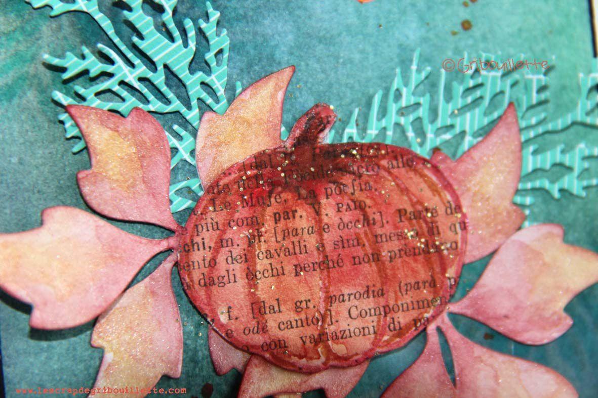 Carte citrouille sur papier livre colorisée à l'aquarelle