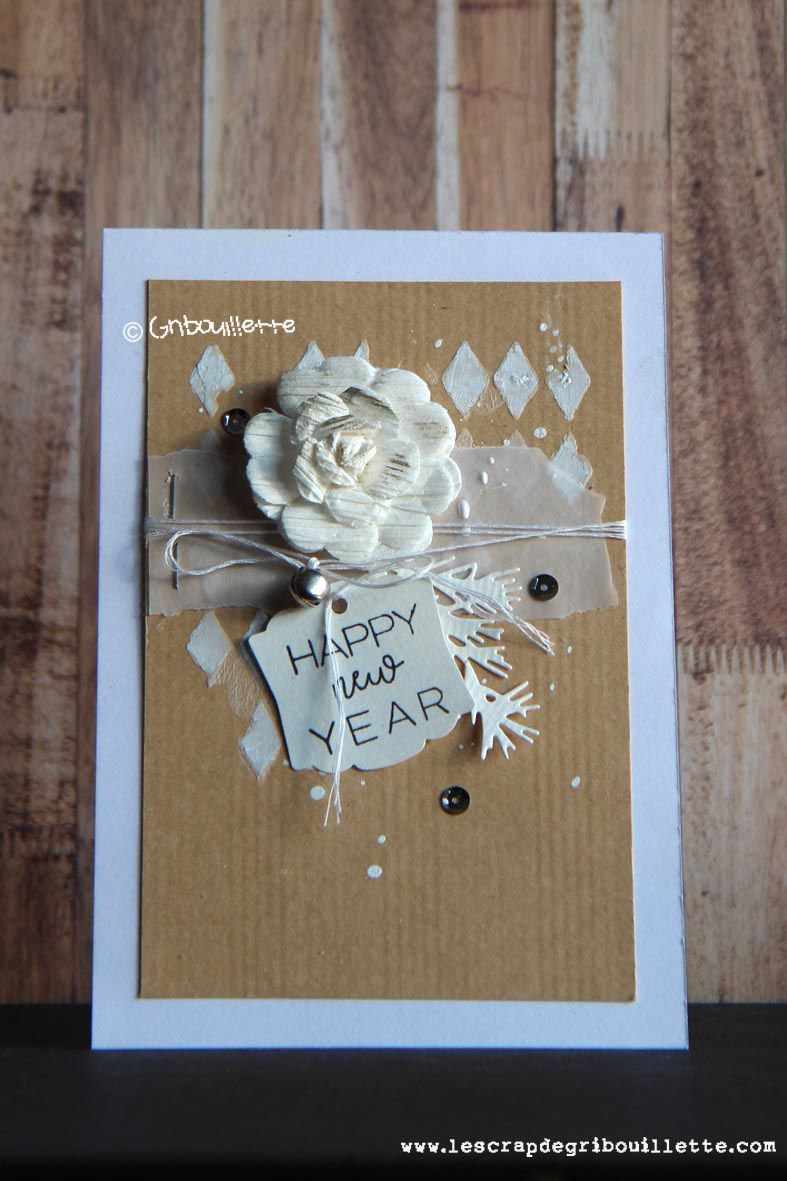 Cartes en kraft et blanc_Défi contraintes de Cristal91 sur Made In Scrap