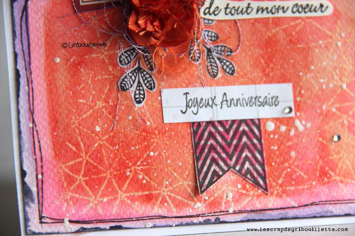 """Carte """"Roses de soie sur fond Vibration""""_Invitée Créative La Compagnie des Elfes"""