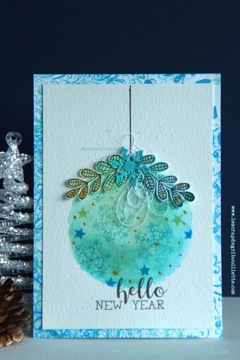 Cartes_Boule de Noël aquarellée
