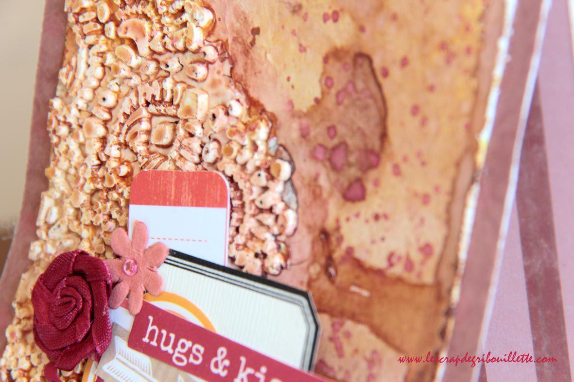 Carte Mixed Media_Hugs et Kisses
