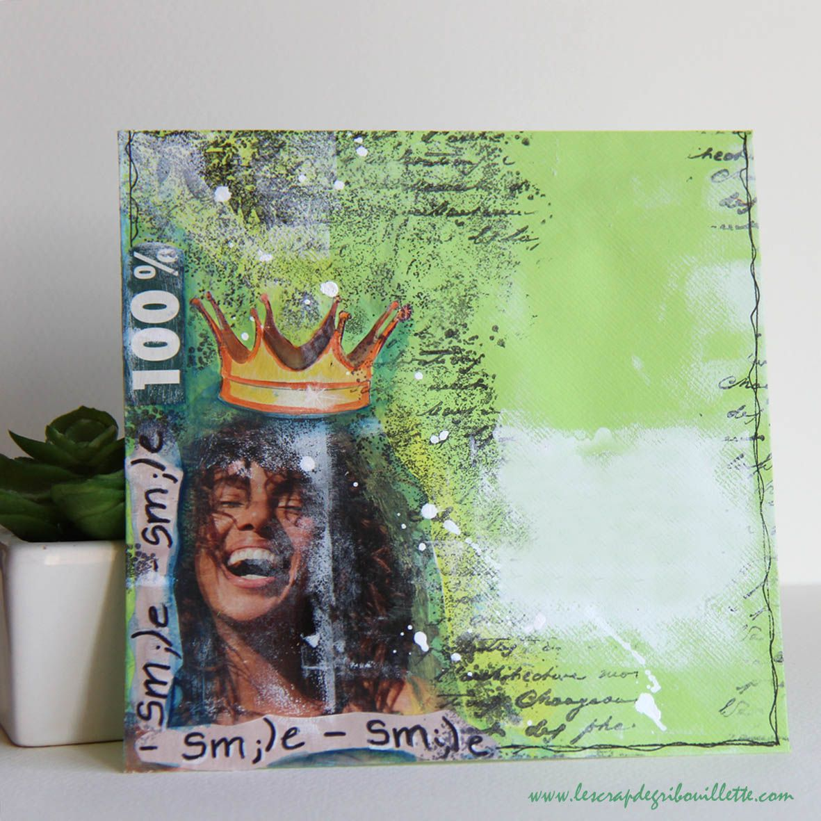 """Mail Art """"100% Smile""""_Mixed Media_Collage"""