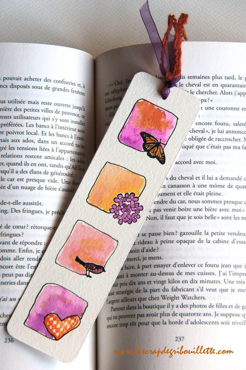 """marque-pages """"petits carrés aquarellés"""""""