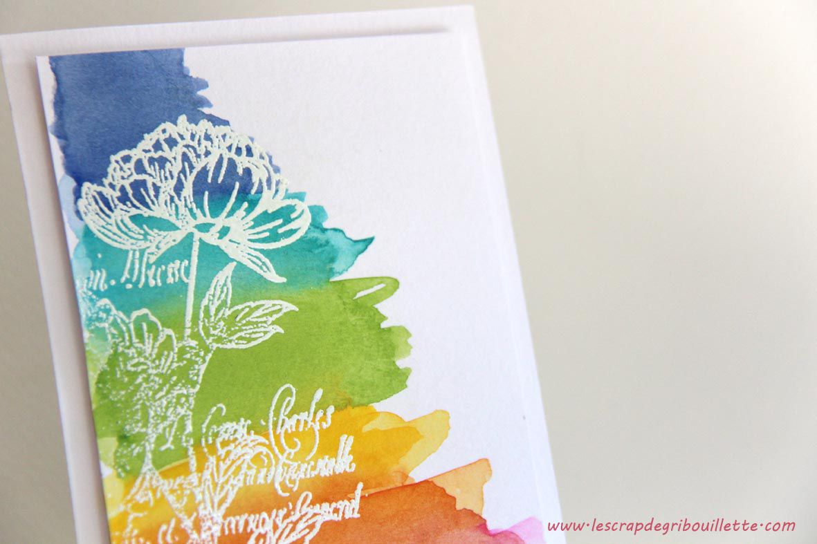 Easy watercolor background_Aquarelle et poudre à embosser