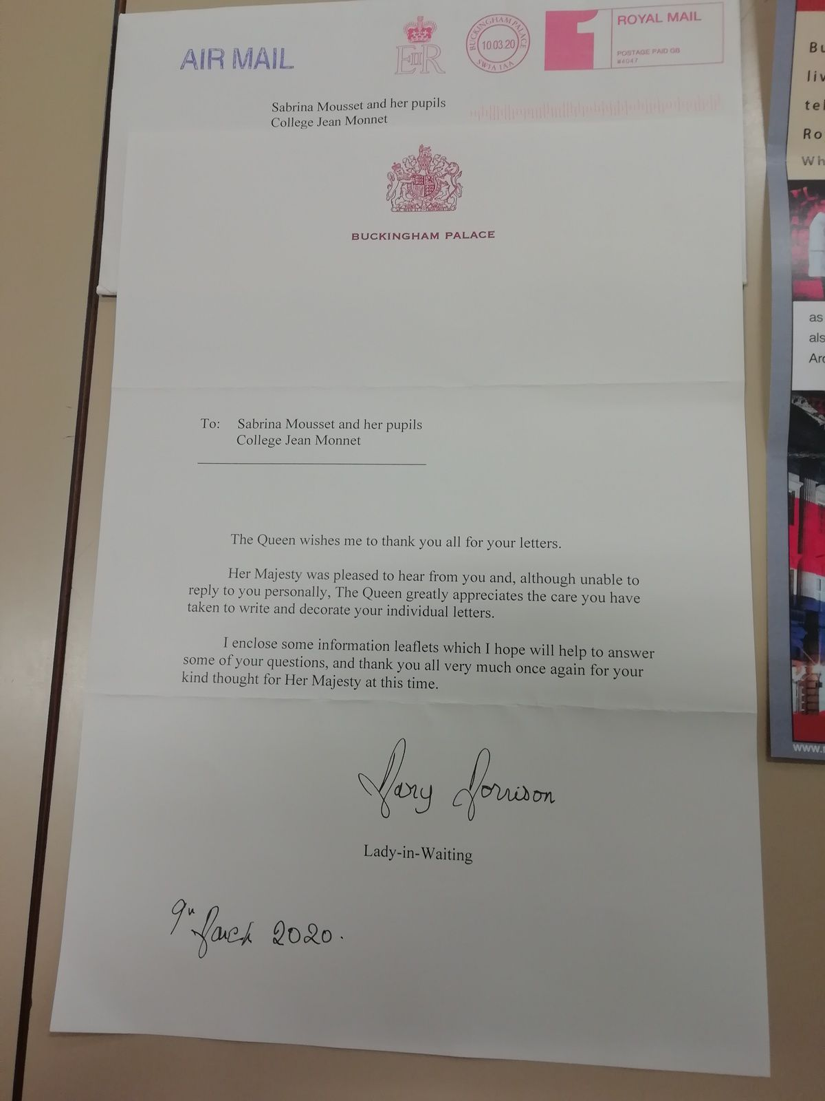 Letter from the QUEEN!